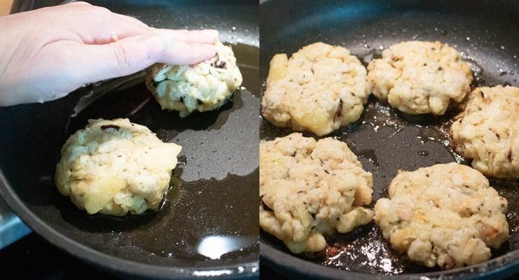 press bread dumplings into pan