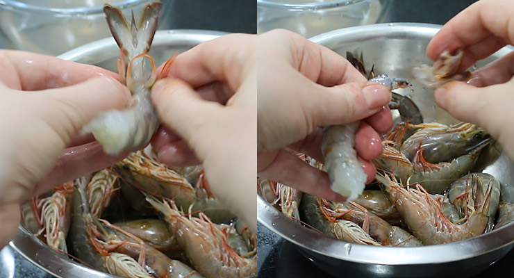 deshell the shrimp and pull off the tail
