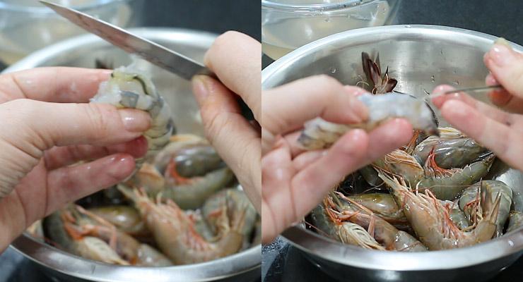 cut open along the vein and discard shrimp vein