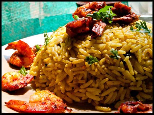 Fried Prawns with Lemon Rice #stepbystep #recipe masalaherb.com