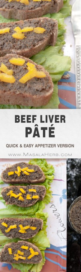 Beef Liver Pâté Recipe - How to make Easy Liver Pâté [Quick Appetizer] hors d'oeuvrespate version, prepared quickly and easily from scratch. For little breads such as on abaguette piece or on crispy Bruschetta. serve with an olive on top, capsicum, green pickles www.MalaHerb.com #pate #liver #appetizer #masalaherb