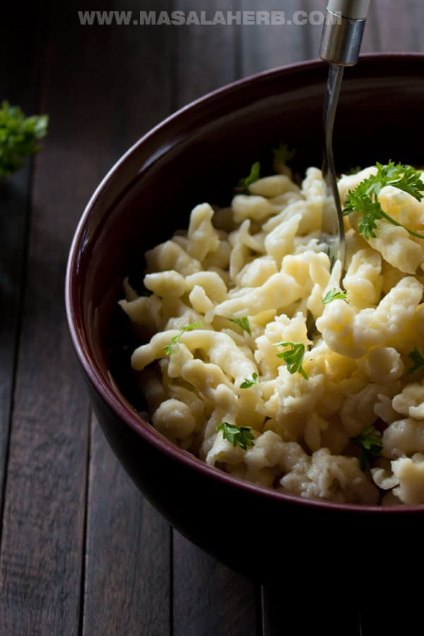 Easy Spaetzle Recipe - How to make perfect Spätzle Noodles! [+Video] from scratch with instructions and spaetzle maker. You can make a hue batch ahead and freeze for later. The Spaetzle make a delicious side dish with other dishes such as a goulash gravy, knoedel, jägerschnitzel, wienerschnitzel, Sauerbraten and Rouladen www.MasalaHerb.com #noodles #DIY #masalaherb