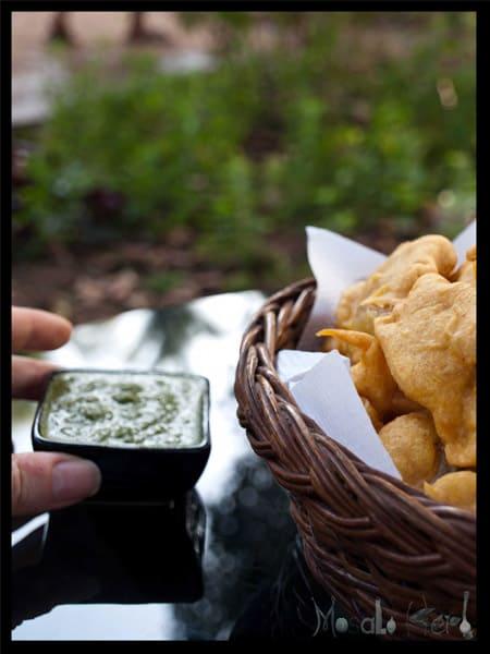 Pakora and Green Chutney Dip #stepbystep #recipe masalaherb.com