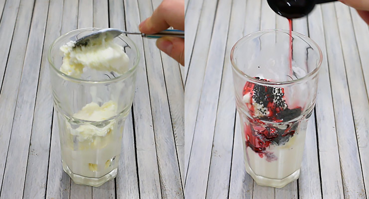 place ice cream with seeds and syrup into glass