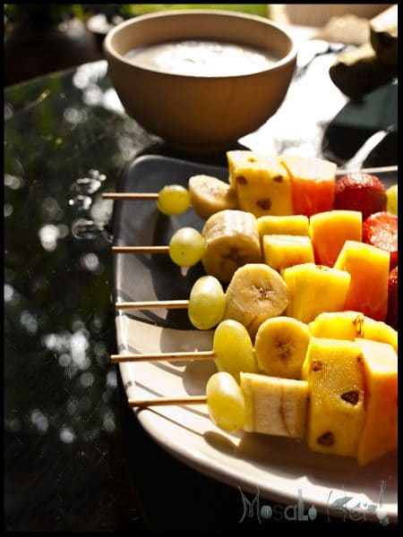 Fruit skewers and Coconut Yogurt dip #stepbystep #recipe masalaherb.com