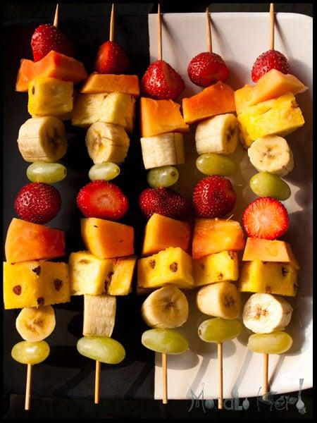 Fruit skewers and Coconut Joghurt dip #stepbystep #recipe masalaherb.com