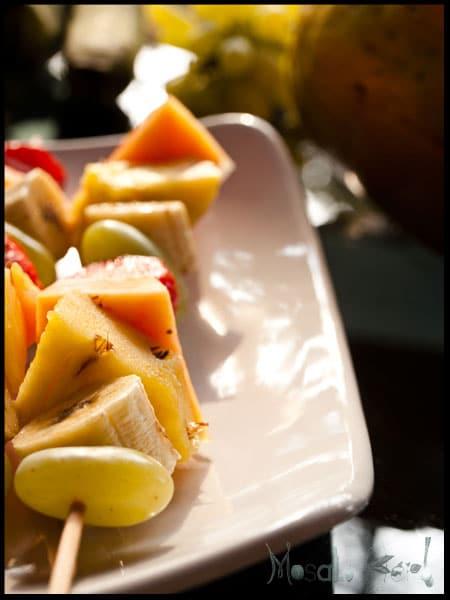 Fruit skewers and Coconut Yogurt dip #stepbystep #recipe masalaherb.com