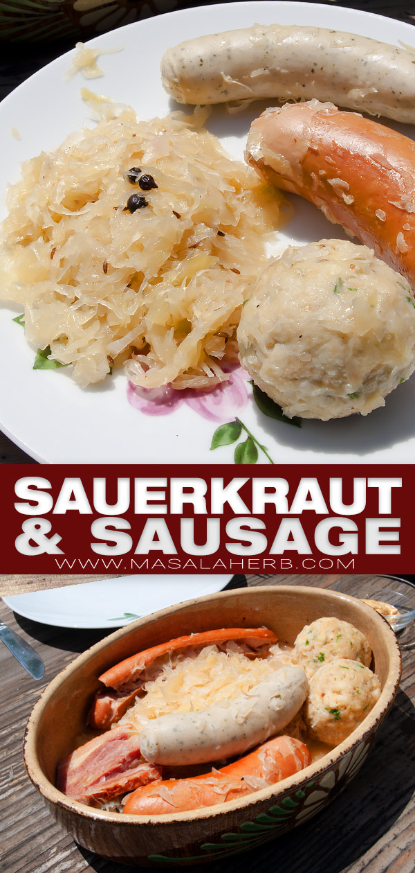 German Sauerkraut and Sausage Recipe pin image