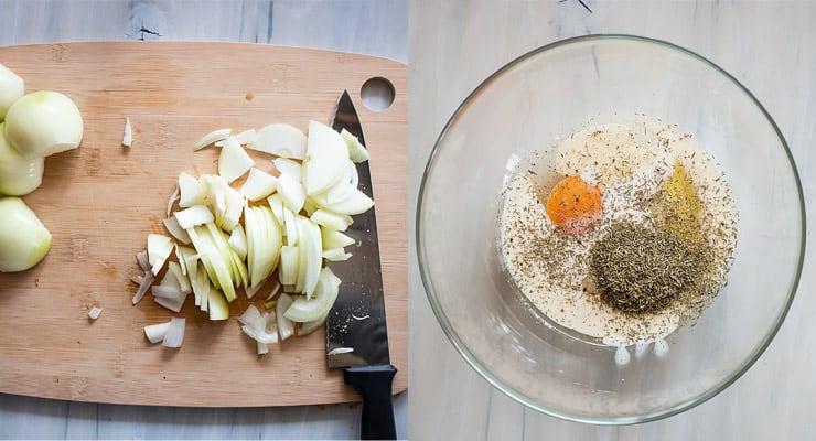 slice onions, prepare filling