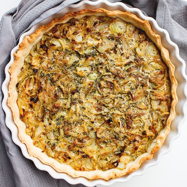 tart from top down with onions filled
