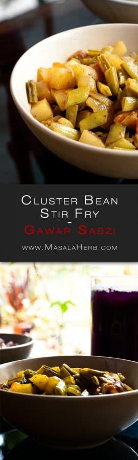 Gawar Sabzi Recipe - Gavar Bhaji - Goan Guar Bean Cluster Bean Stir Fry {Vegan} www.MasalaHerb.com