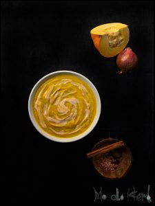 Spicy Pumpkin Soup with Chili Cream