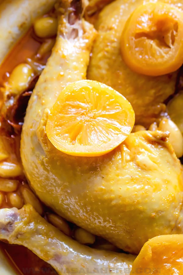 moroccan chicken tajine close up
