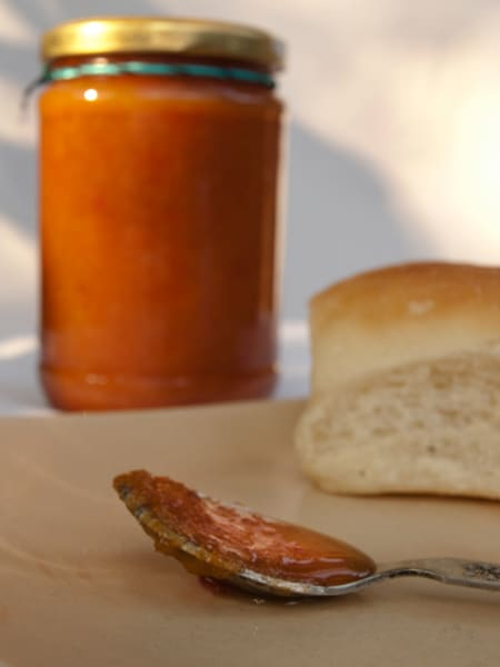 Persimmon Jam without Pectin Recipe - How to make easy persimmon jam www.masalaherb.com