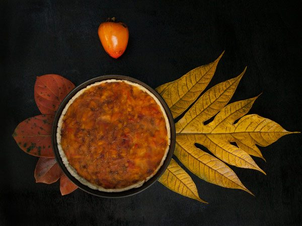 Persimmon Tart - Hachiya, Diospyros Kaki #stepbystep #recipe masalaherb.com