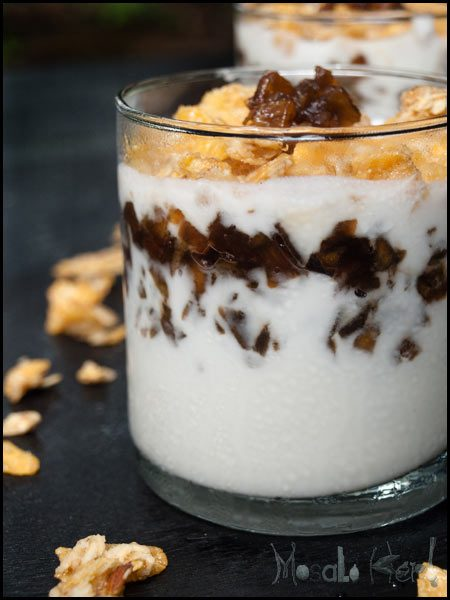 Spiced Apple Compote, Muesli Yogurt #stepbystep #recipe masalaherb.com