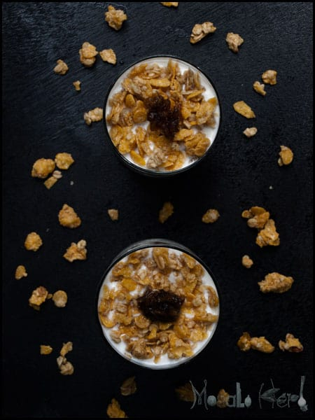 Spiced Apple Compote, Muesli Yogurt #stepbystep #recipe masalaherb.com