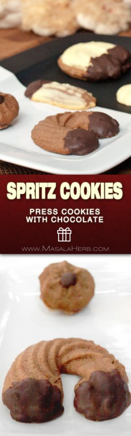 Chocolate Spritz Cookies Recipe - How to Press Cookies [+Chocolate Dipped variety] from scratch pastry with cocoa powder enriched and pressed with a piping bag or cookie press. Learn how to make chocolate spritz cookies easily! www.MasalaHerb.com #cookies #masalaherb #chocolate #christmas