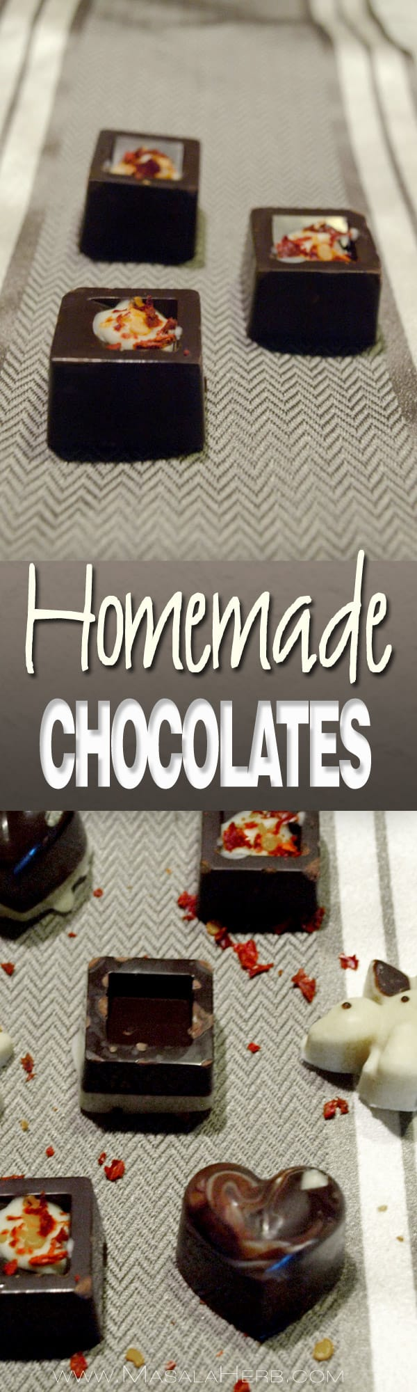 Easy Homemade Chocolate Recipe - How to incl. various flavors [healthier]. Make different homemade chocolate shapes with different flavor combinations and decorations. To gift for celebrations as a gift as for example for valentines days, christmas, baptism, birthday etc. www.MasalaHerb.com #DIY #chocolate #homemade #masalaherb