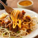 Spaghetti with Currywurst Sauce for #Sundaysupper