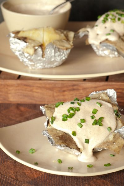 Foil Wrapped Potato & Creamy Garlic Topping #stepbystep #recipe masalaherb.com