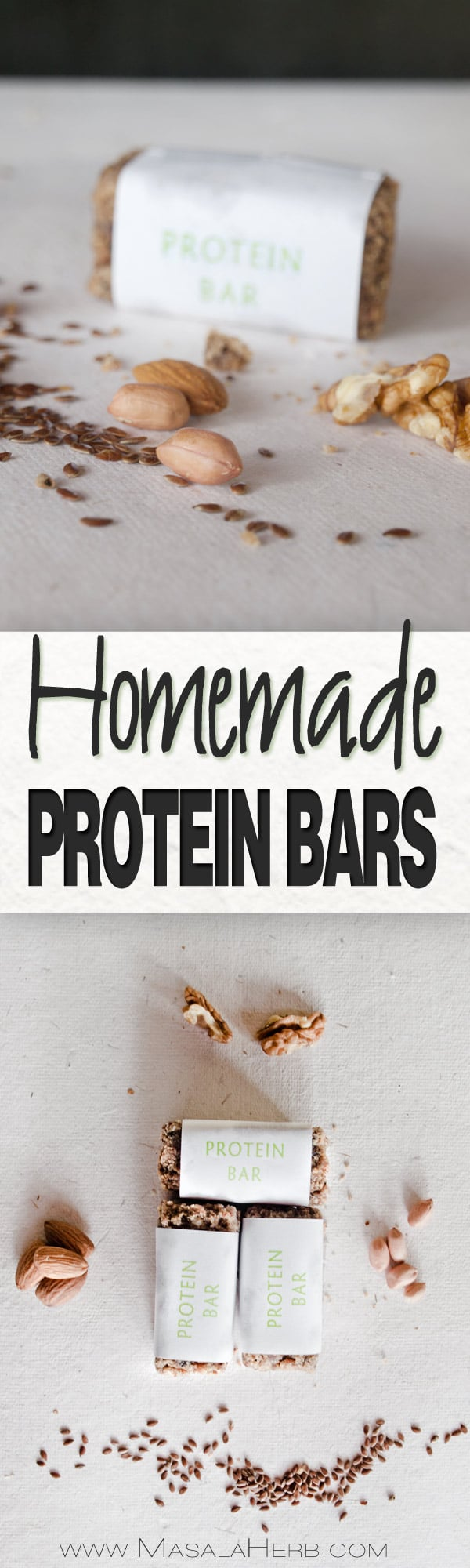 Homemade Protein Bars Recipe [without protein powder, Gluten free, Organic] you can make them vegan too with vegan milk powder. perfect portable homemade protein bars for after workout to give a power boost or as a study snack. You know hat's in your protein bars! www.MasalaHerb.com #proteinbars #healthy #homemade