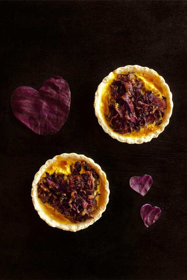Spicy Red Cabbage Quiche | Veggie Quiche #Sundaysupper #stepbystep #recipe masalaherb.com
