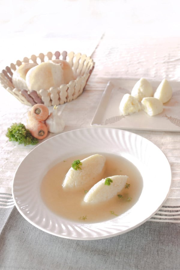 Vegetable Consommé with Semolina Dumplings - Grießknödel for #Sundaysupper #stepbystep #recipe masalaherb.com