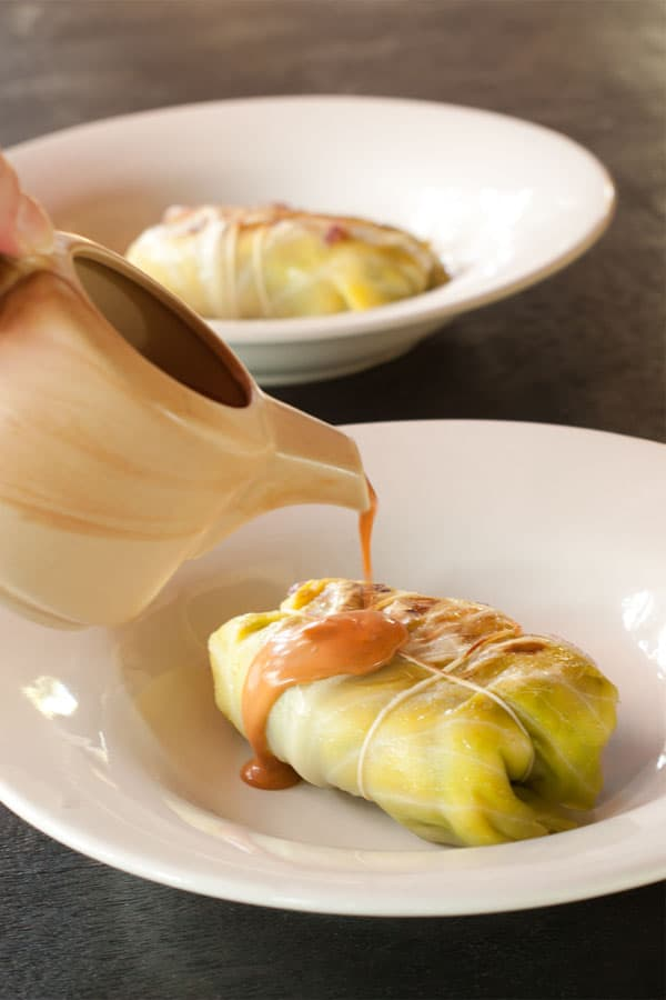 Vegetarian Stuffed Cabbage Rolls Recipe - Healthier German Stuffed Cabbage Rolls www.MasalaHerb.com #German #food