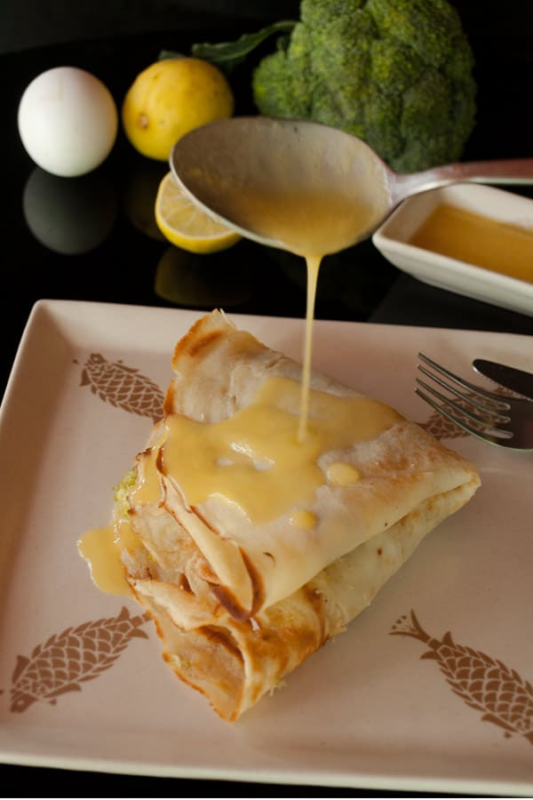Savory Crepes with Prawns, Broccoli and Hollandaise Sauce for #Sundaysupper #stepbystep #recipe masalaherb.com