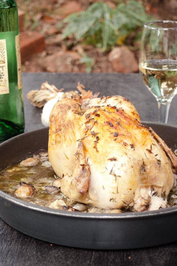 Easy Roast Chicken Recipe with fresh Thyme, Garlic and Mushrooms #stepbystep #recipe masalaherb.com