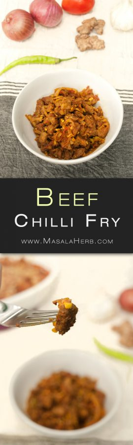 Goan Beef Chilli Fry Recipe - Quick & Easy Spicy Stir Fried Beef the Indian Goan Style with onion tomato garlic turmeric chili and vinegar. Easy to prepare because of the diced beef cubes which don't toughen that much while stir frying and because of the natural tenderizing agent. Read more here www.MasalaHerb.com #Recipe #Indiancuisine