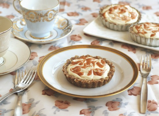 Raw Apricot Swirl Cheesecake Mini Pies