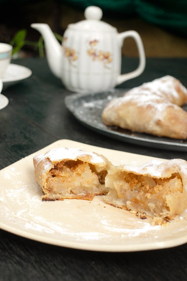 Strudel dough & Austrian Mini Apple Strudel masalaherb.com #stepbystep #recipe @masalaherb