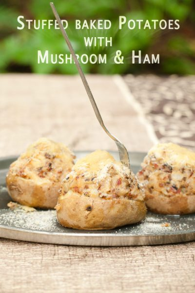 Stuffed baked Potatoes with Mushroom & Ham http://masalaherb.com #stepbystep #recipe @masalaherb