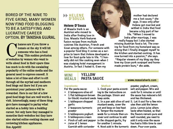 Interview India Today woman August 19th 2013  http://masalaherb.com