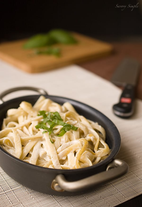 pasta with cashew truffle cream sauce