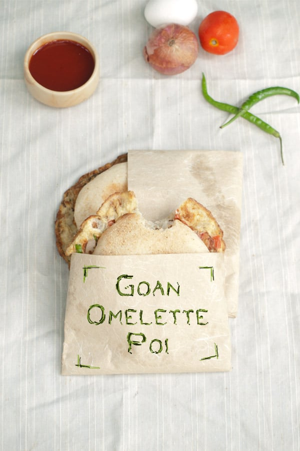 Goan Omelette Poi - Spiced Egg Omelette Bread Sandwich - Indian Street Food www.MasalaHerb.com #Recipe #Indianfood #streetfood