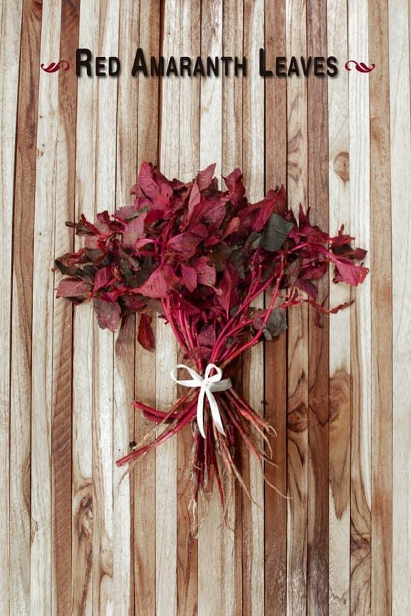 Red Amaranth Leaves Sabzi - Tambdi Bhaji - Goan Red Spinach Recipe www.MasalaHerb.com