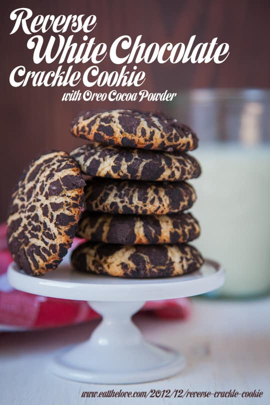 Reverse White Chocolate Crackle Cookie with Oreo Cocoa Powder