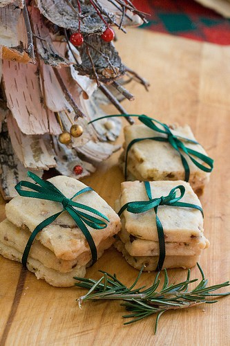 Rosemary Pine Nut Shortbread Cookies