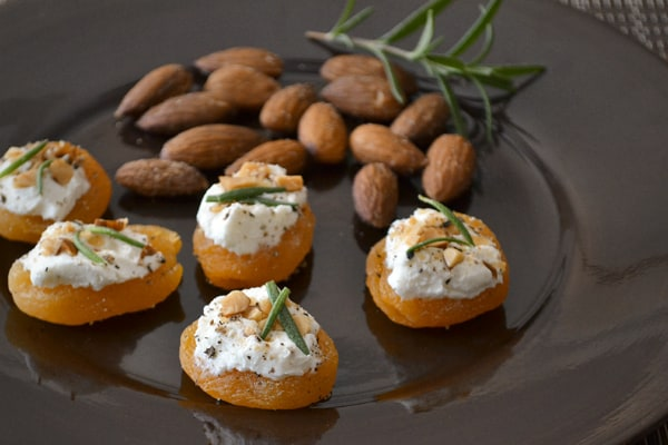 Apricot Canapés with Goat Cheese, Almonds and Rosemary