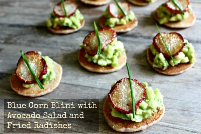 Blue Corn Blini with Avocado Salad and Fried Radishes
