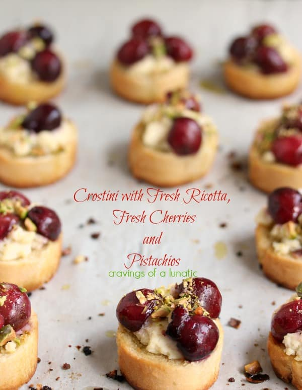 Crostini with Ricotta, Fresh Cherries and Pistachios