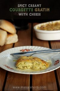 Spicy Creamy Courgette Gratin with Cheese
