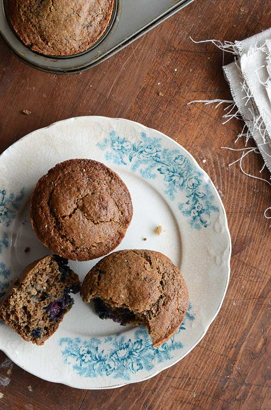 Blueberry, Buckwheat + Chia Seed Muffins {Gluten-Free; Naturally-Sweetened}