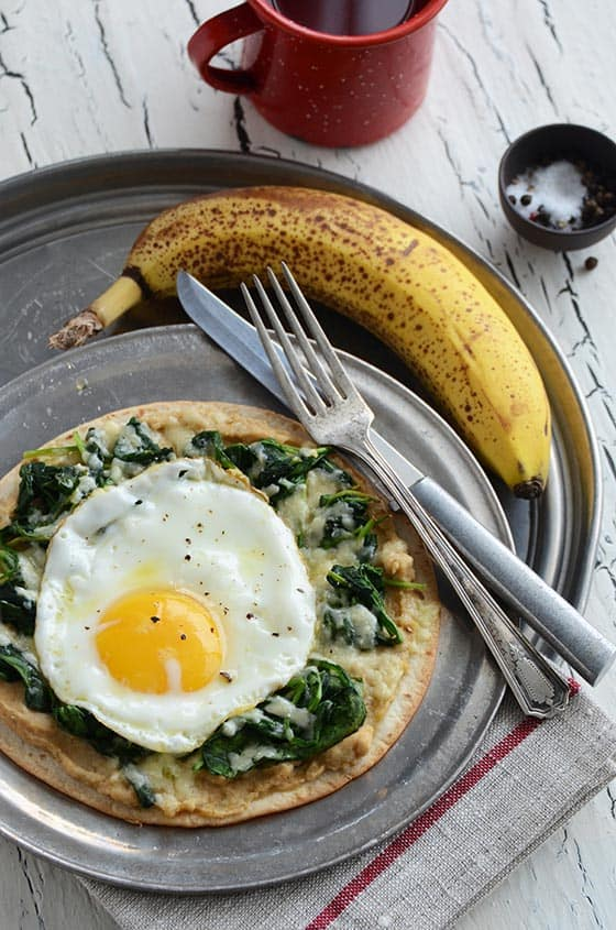 Breakfast Tostada {With Spinach + Hummus}