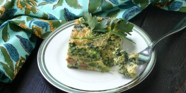 Breakfast Casserole with Broccoli Rabe, Chicken Sausage + Shallots
