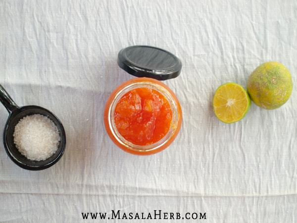 Papaya Jam with Lime Recipe {without pectin} - How to make papaya jam www.masalaherb.com