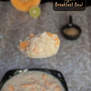 Rice Cantaloupe Yogurt Breakfast Bowl masalaherb.com